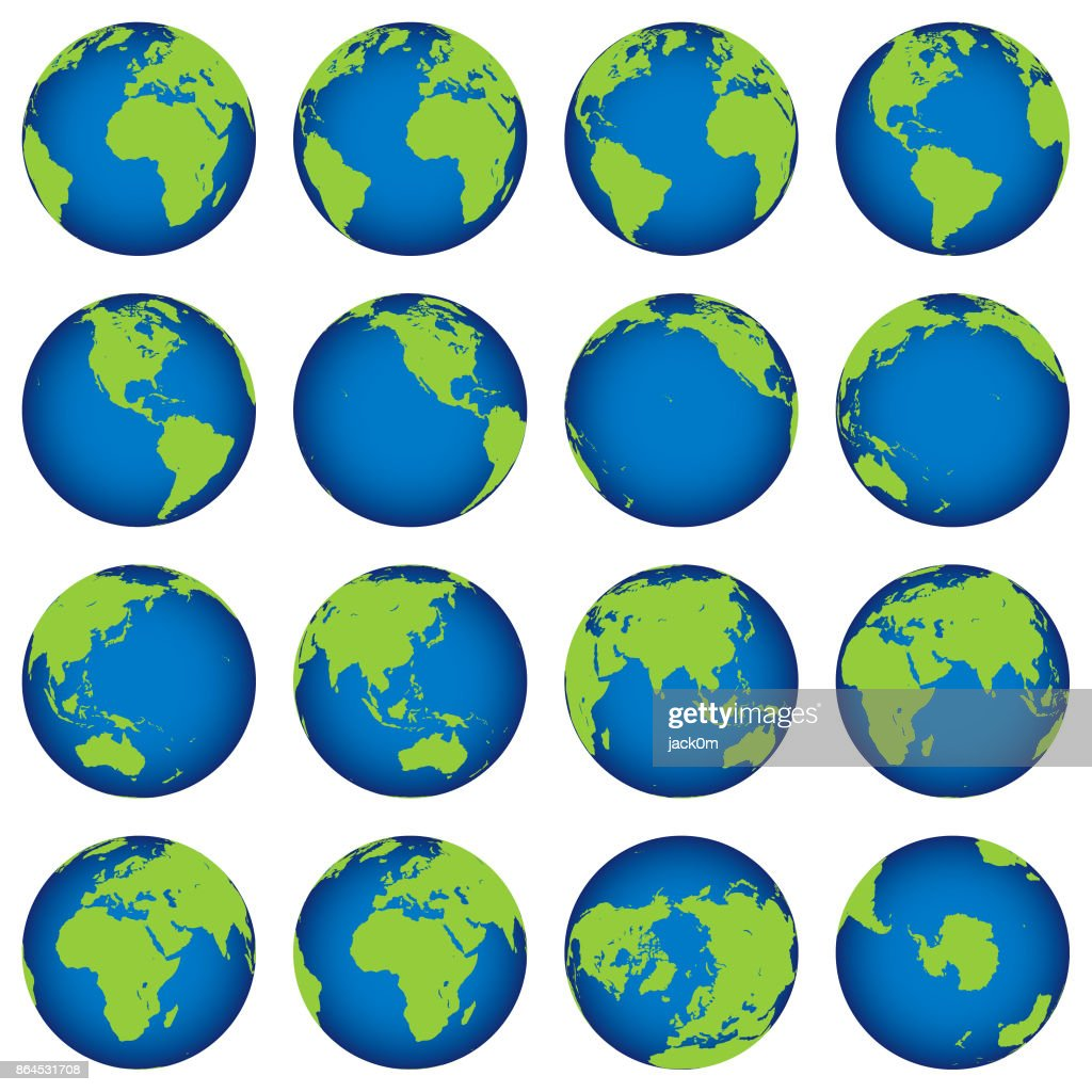 Earth Globe Map turning set : stock illustration