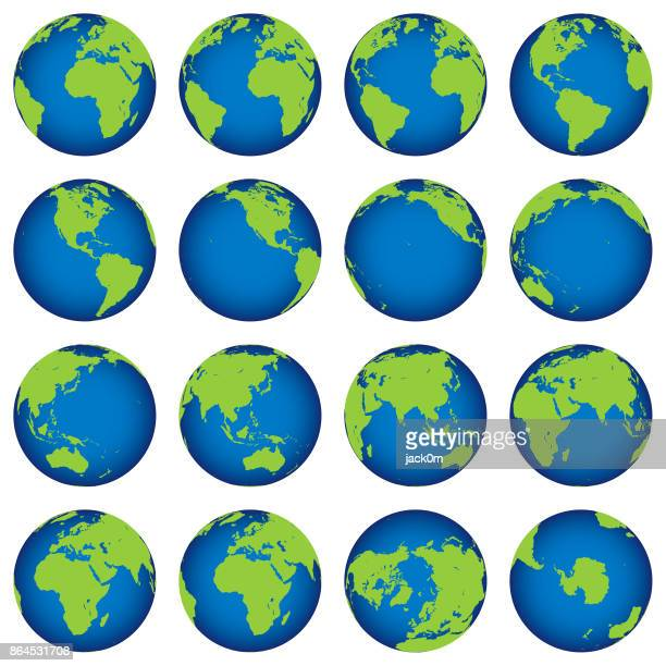 stockillustraties, clipart, cartoons en iconen met kaart van earth globe draaien instellen - spinning