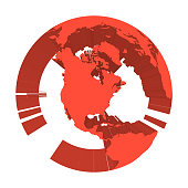 Earth globe model with red extruded lands. Focused on North America. 3D vector illustration