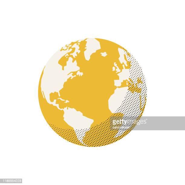 illustrazioni stock, clip art, cartoni animati e icone di tendenza di earth globe retro colors half tone texture effect - globo terrestre