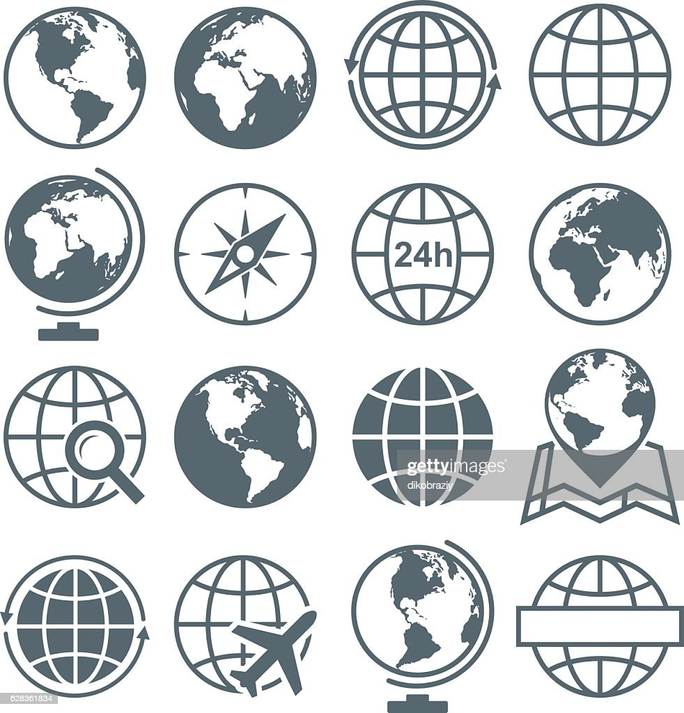 Earth Globe Round Icon Set - vector illustration