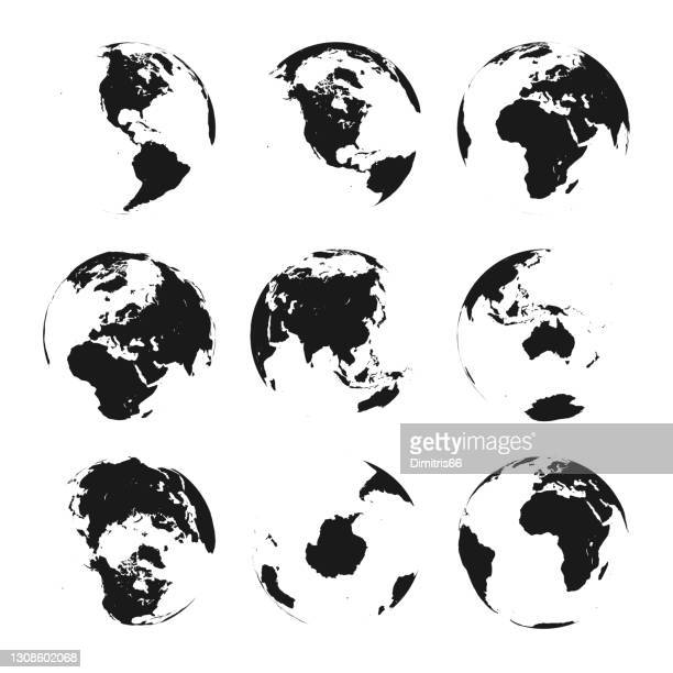 earth globe set from variant views - vector stock illustrations