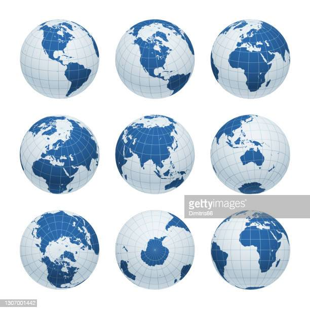earth globe set from variant views with meridians and parallels. 3d vector illustration - wire frame model stock illustrations