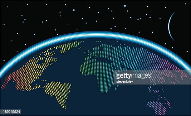 earth glow - satellite view stock illustrations