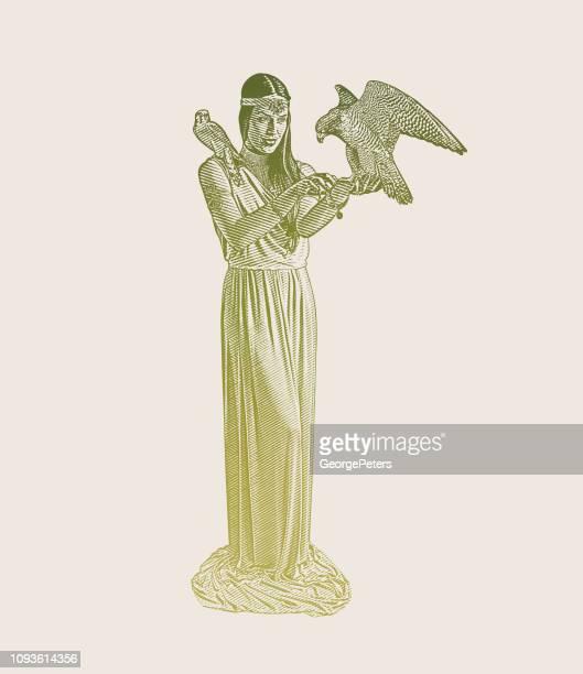 ilustraciones, imágenes clip art, dibujos animados e iconos de stock de diosa de la tierra con el halcón peregrino y cernícalo americano - roman goddess