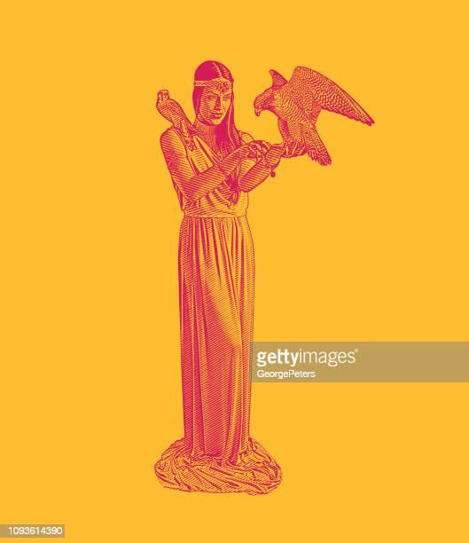 earth goddess holding peregrine falcon and american kestrel - peregrine falcon stock illustrations, clip art, cartoons, & icons