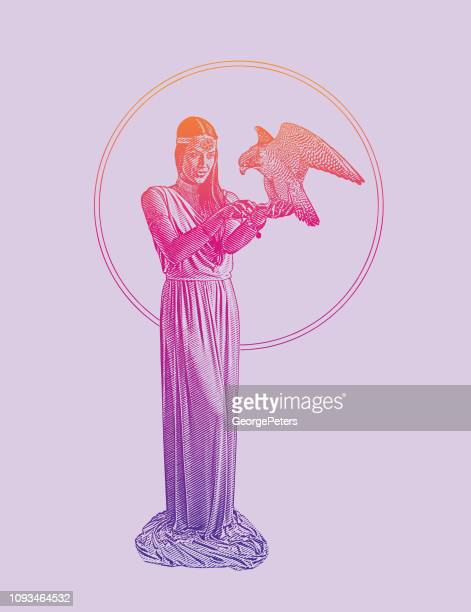 earth goddess holding peregrine falcon - peregrine falcon stock illustrations, clip art, cartoons, & icons