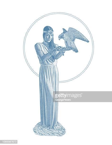 Earth Goddess holding Peregrine Falcon