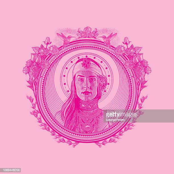 Earth Goddess in decorative circle frame surrounded by hummingbirds and flowers