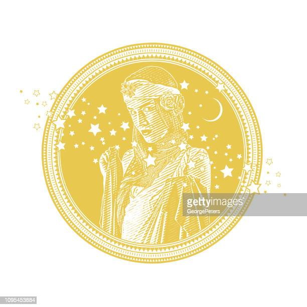 earth goddess with stars and moon circle frame - fate stock illustrations