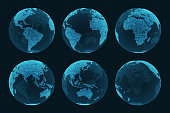 Earth hologram from different angles hud elements.
