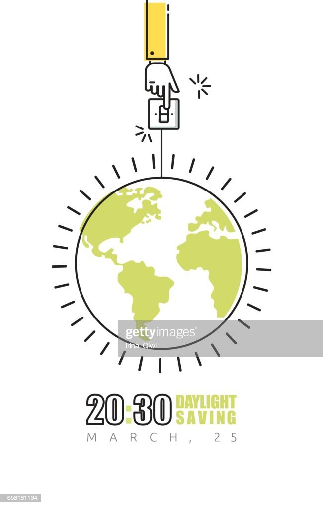 Earth hour poster with hand turning off the light
