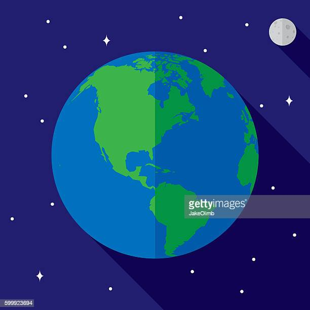 earth icon flat - earth day stock illustrations