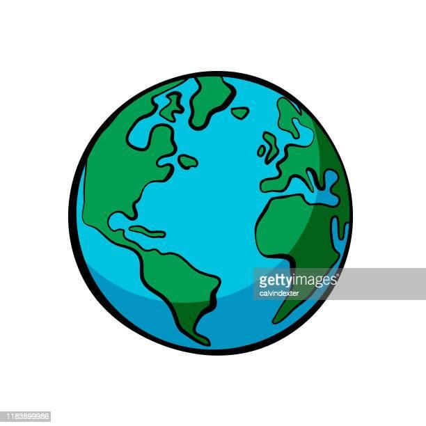 earth illustration cartoon line art style bold colors - planet earth stock illustrations