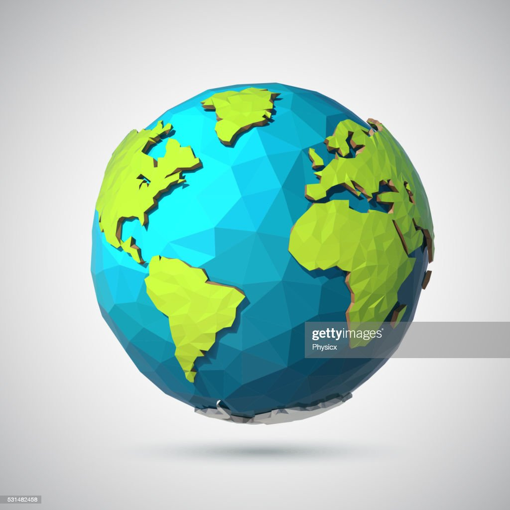 Earth illustration in Low poly style. Polygonal globe icon