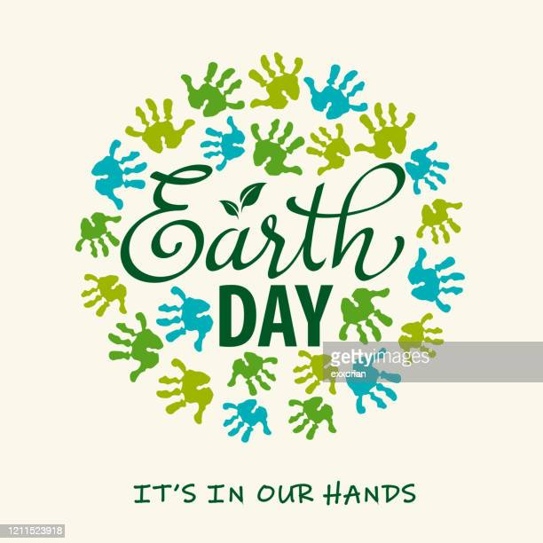 earth is in our hands - earth day stock illustrations