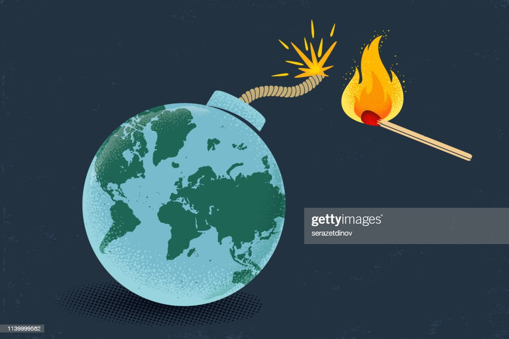 Earth like bomb with match : stock illustration