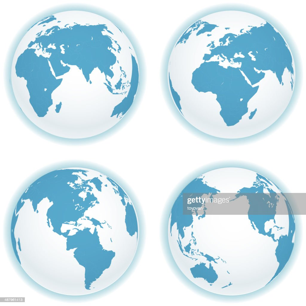 Earth map scheme isolated on white