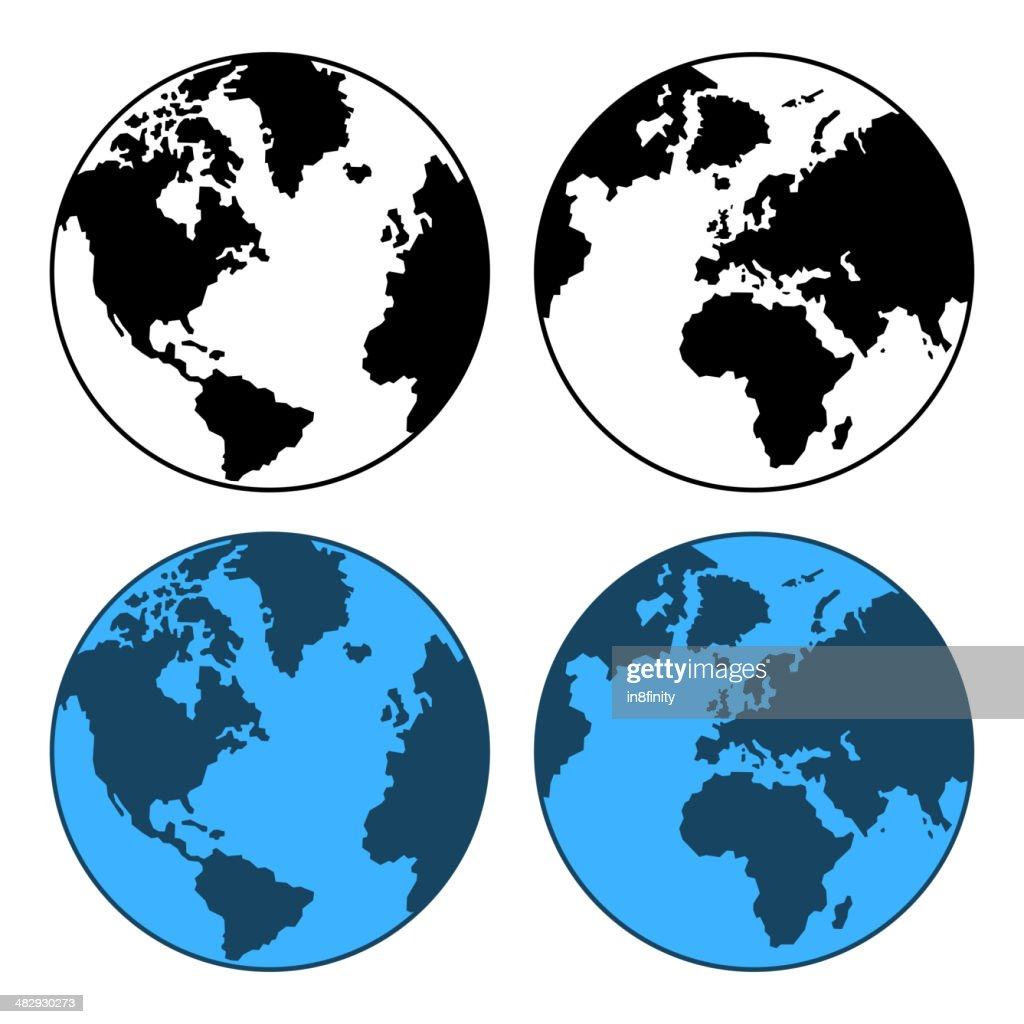 Earth Map Set Isolated on White. Vector
