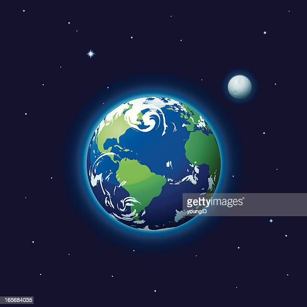 earth & moon - planet earth stock illustrations