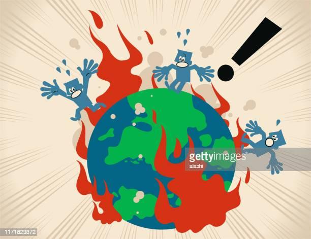 illustrations, cliparts, dessins animés et icônes de la terre en feu et les gens s'échappent - bombardement