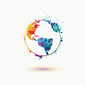 Earth planet colorful icon.