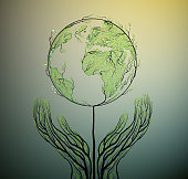Earth planet map created from the leaves and looks like spring tree growing on soil, green planet eco concept,