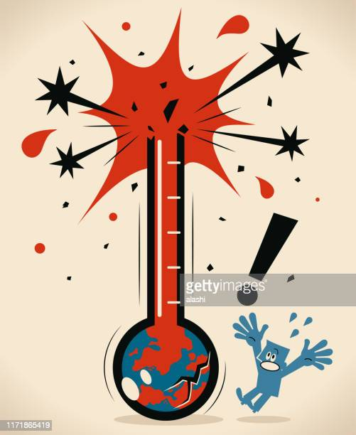 earth thermometer breaking and people are worried and scared - celsius stock illustrations
