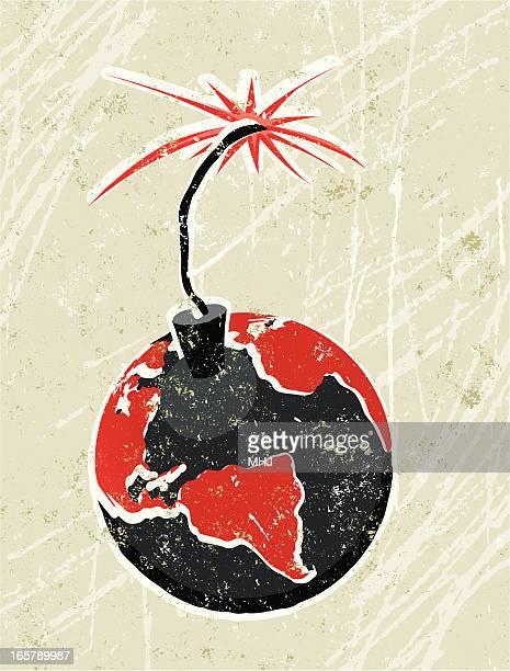 illustrazioni stock, clip art, cartoni animati e icone di tendenza di terra time bomb - terrorismo