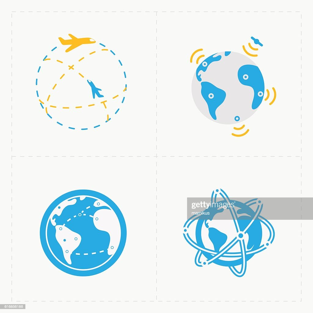 Earth vector icons set on white background. : Vector Art