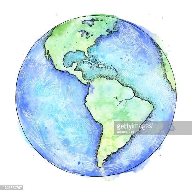illustrazioni stock, clip art, cartoni animati e icone di tendenza di acquerello vettoriale terrestre e illustrazione dell'inchiostro - giornata della terra - illustrazione eps10 vettoriale - giornata mondiale della terra