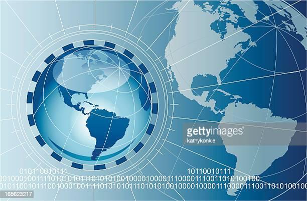 earth with data stream - latitude stock illustrations