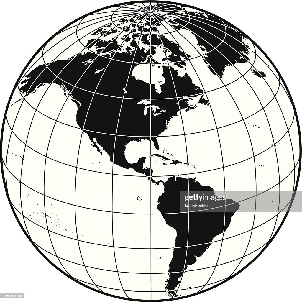 Line Drawing Earth : Earth with grid lines the americas vector art getty images