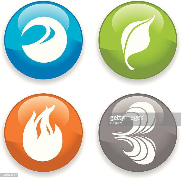 earthly elements icons - the four elements stock illustrations