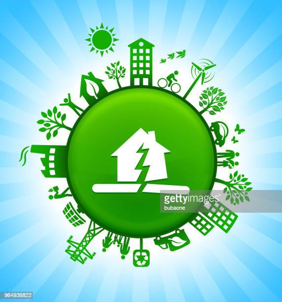 earthquake environment green button background on blue sky - green car crash stock illustrations