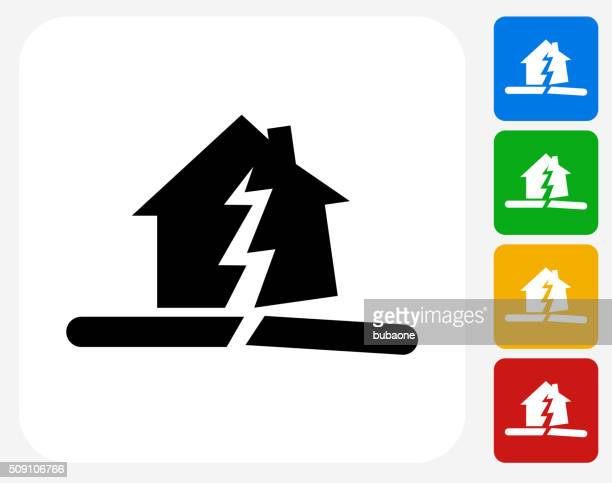 Earthquake Icon Flat Graphic Design