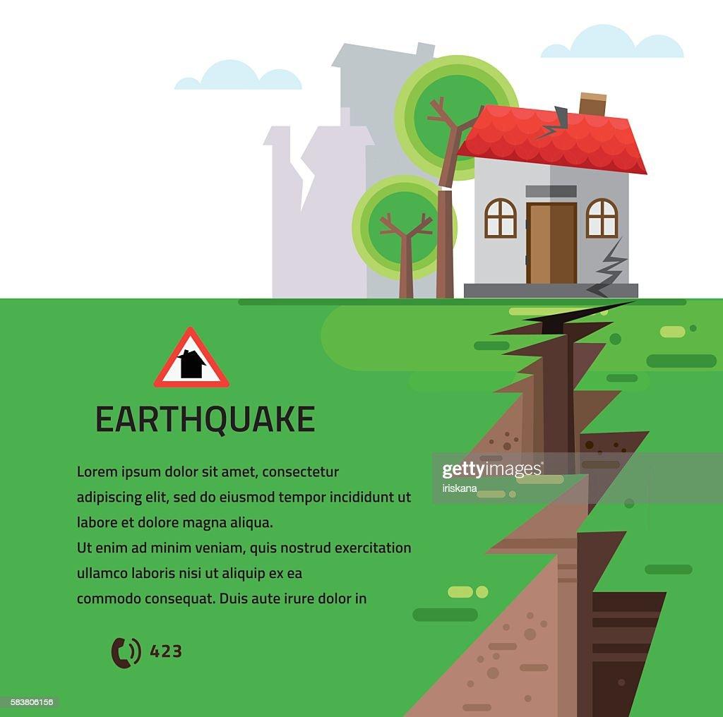 Earthquake Insurance Colourful Vector Illustration