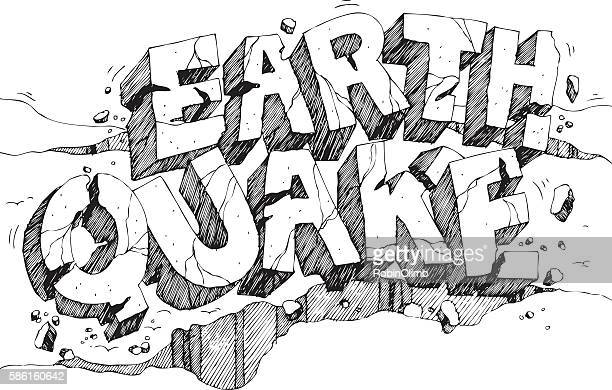 earthquake pen and ink - nature alphabet letters stock illustrations
