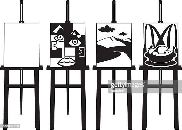 illustrazioni stock, clip art, cartoni animati e icone di tendenza di cavalletti in nero & bianco - pablo picasso