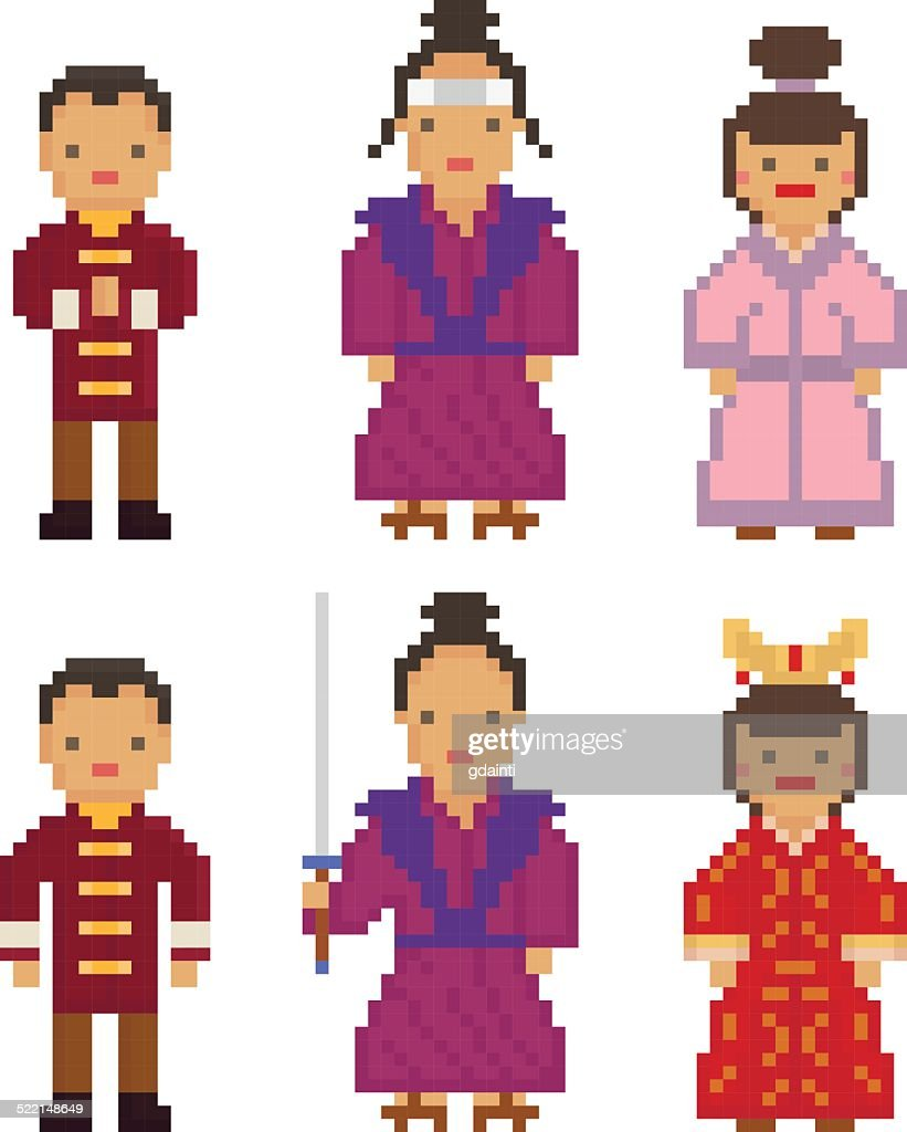 East Asia -China People National Traditional Costume Dress Clothing