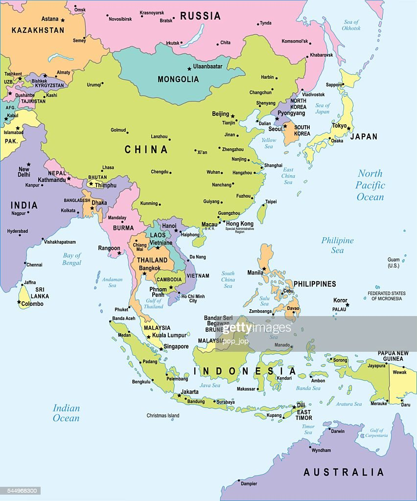 East Asia Map Illustration High-Res Vector Graphic - Getty ...