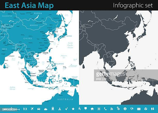 east asia map - infographic set - south east asia stock illustrations