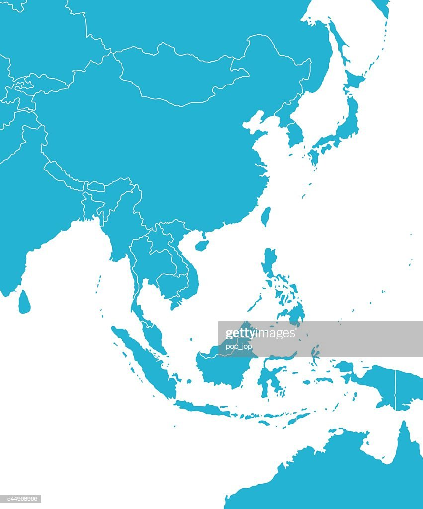 East Asia Map : stock illustration