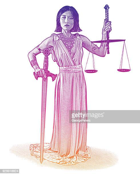 east asian lady justice with scales and sword - me too social movement stock illustrations, clip art, cartoons, & icons