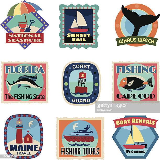 east coast luggage labels or travel stickers - motorboating stock illustrations, clip art, cartoons, & icons