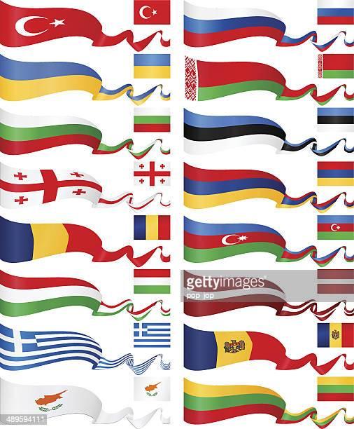 east europa flagge banner-kollektion - russische flagge stock-grafiken, -clipart, -cartoons und -symbole