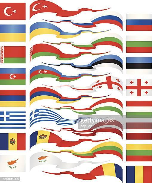east europa-flagge bänder kollektion - flagge von georgien stock-grafiken, -clipart, -cartoons und -symbole