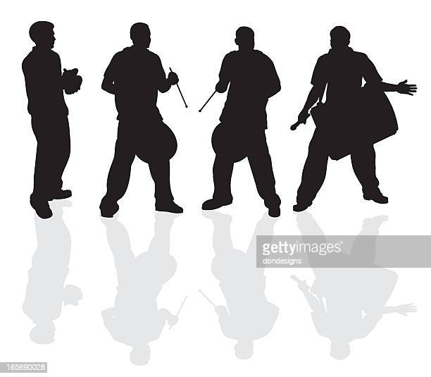 east indian drummers silhouette - drum percussion instrument stock illustrations, clip art, cartoons, & icons