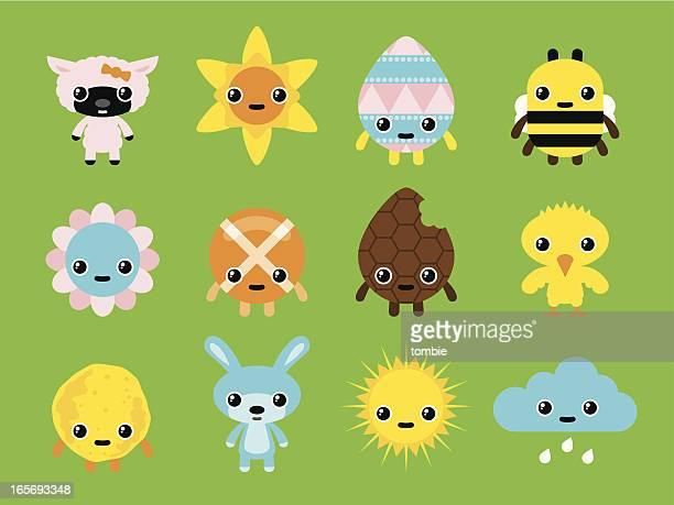 easter and spring characters - daffodil stock illustrations