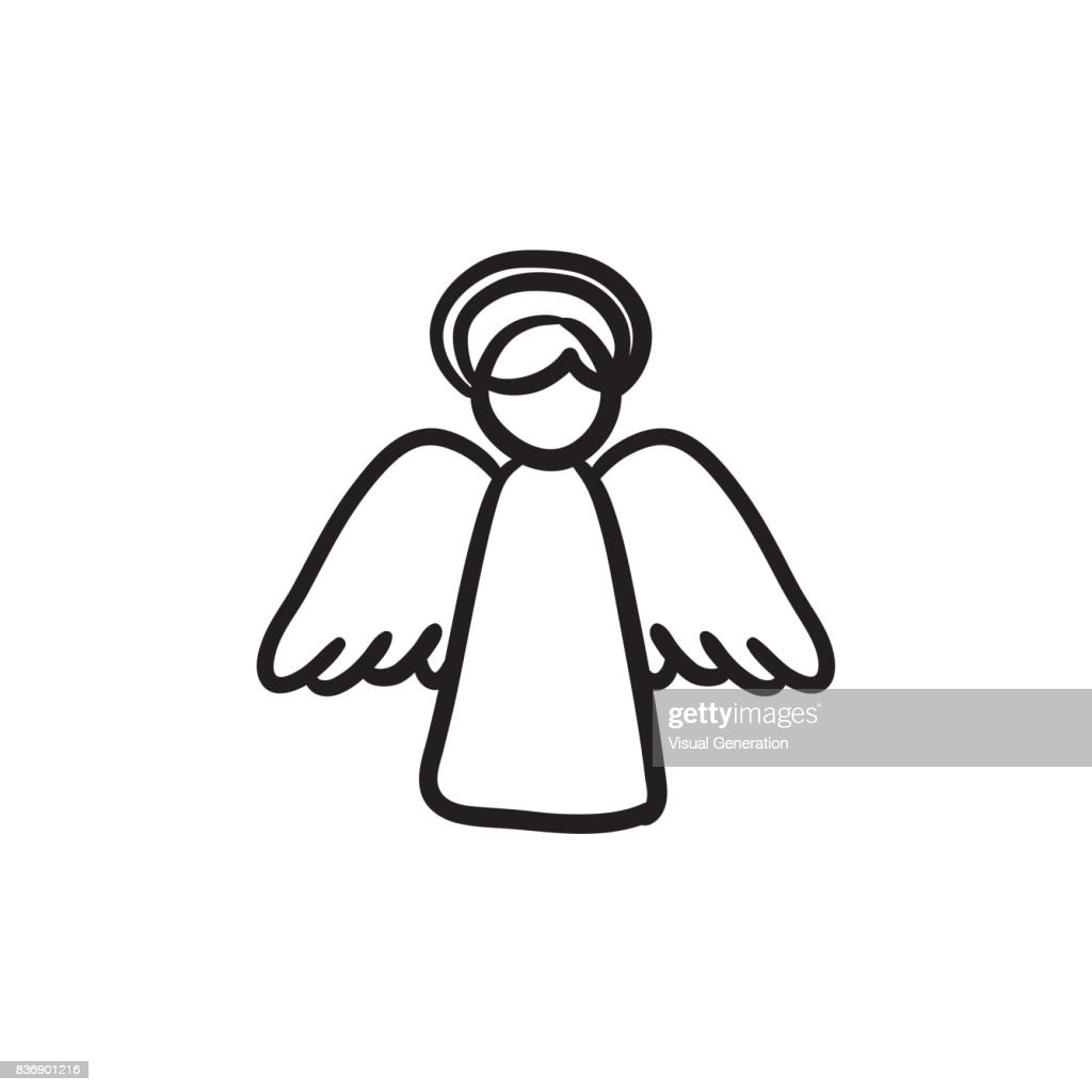 Easter angel sketch icon